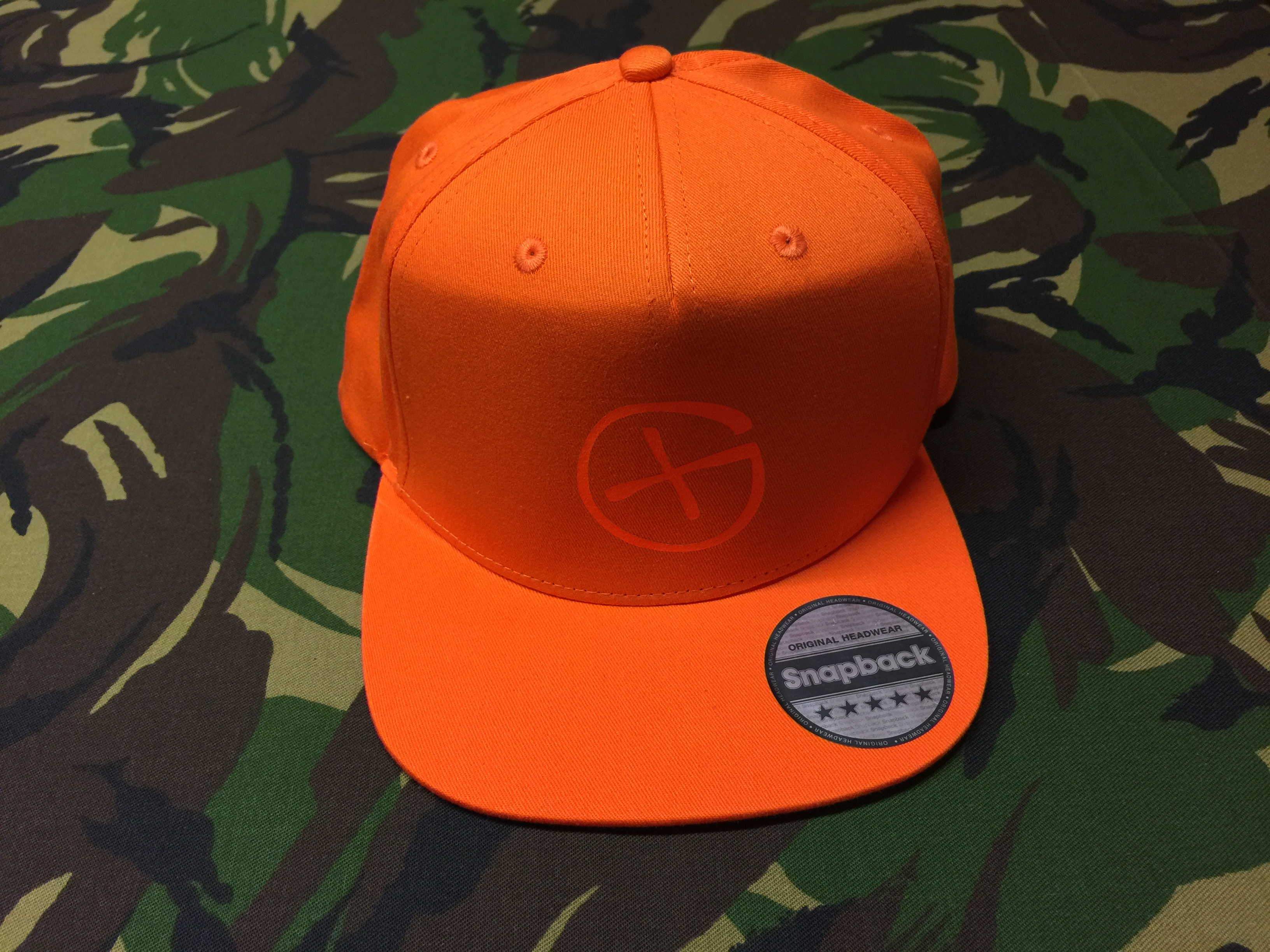Cap Rapper<br>orange<br>Opencaching Logo<br>neon-orange